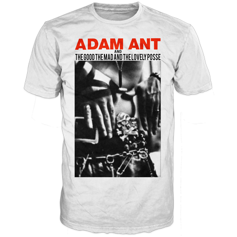 Adam Ant hands white short sleeve t-shirt