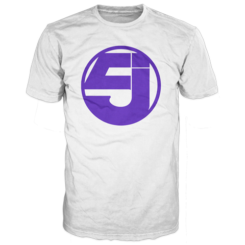Jurassic 5 logo purple and white short sleeve t-shirt