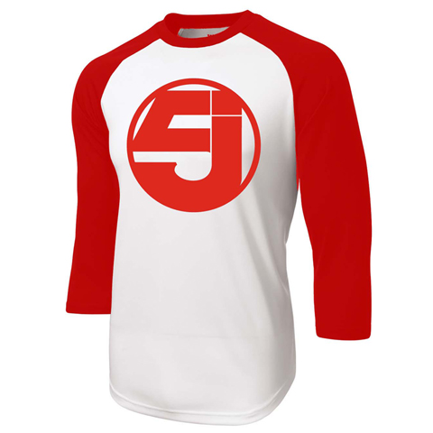 Jurassic 5 logo red baseball shirt