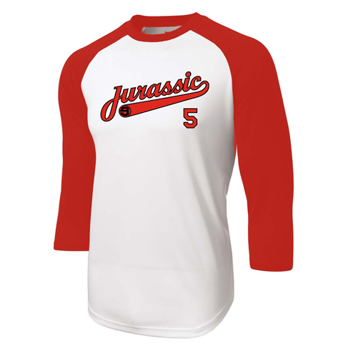 Jurassic 5 home run red baseball shirt