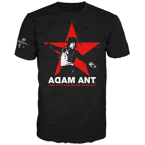 Adam Ant USA 2017 Tour Star Black Short Sleeve T-shirt