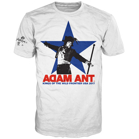 Adam Ant USA 2017 Tour Star White Short Sleeve T-shirt